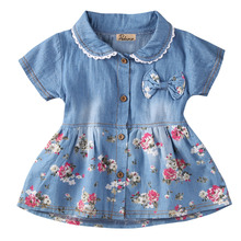Summer kids jeans dress Infant Baby Girls Floral Dress Bowknot Sundress Clothes 0-4Y(China)