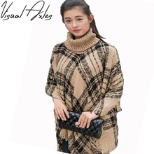 [Visual Axles] Large Size 2017 Winter Women Warm Knitted Striped Cardigan Sweater Poncho