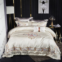4pcs Bedding Set Silk & Cotton Luxury Embroidery White Duvet cover Bed sheet set 2 pillowcases Royal satin French romantic bed(China)