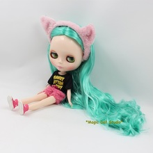 [NBL129]Free shipping Nude Blyth Doll with Long Green Hair Rubber Face Suitable For DIY Doll For Girls(China)