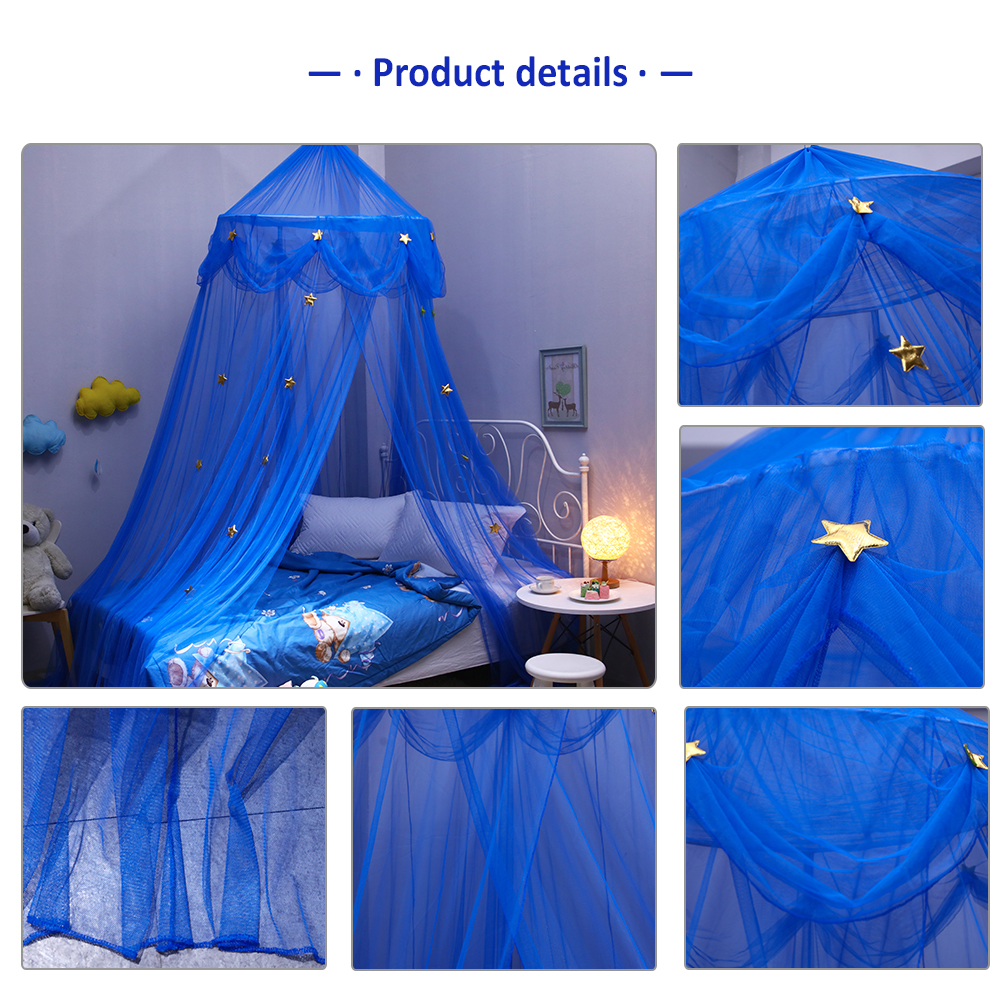 Upgraded Version Of Children's Star Dream Fantasy Star Hanging Lace Dome Mosquito Net Canopy European Round Bedroom Bedding Net