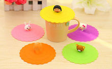 Cute Anti-dust Silicone Glass Cup Cover Coffee Suction Seal Lid Cap Silicone Airtight Love Spoon Novelty Random Color