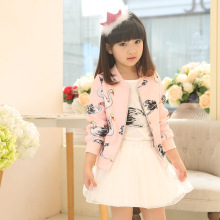 Korean Girls Coat Spring 3 Piece Swan Girls Skirt Suit Kids Clothing Sets Goose Print Pink Green
