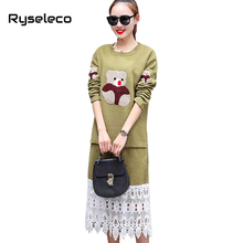 Winter Long Sleeve Warm Casual Dress Brand New Cute Cartoon Bear Embroidery Asymmetric Floral Lace Insert Oversized Tunic Dress
