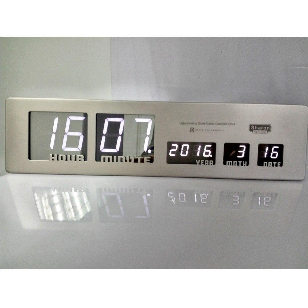 Good 2018 Aluminium Duży LED Cyfrowy Zegar Ścienny Nowoczesny Design Home Decor  Badania Salon Dekoracji Konia Biurko