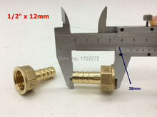 "free shipping copper fitting 12mm Hose Barb x 1/2"" inch female Brass Barbed Fitting Coupler Connector Adapter"