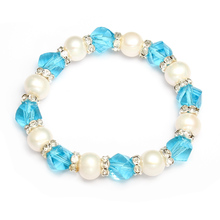 Freshwater Cultured Pearl Bracelet Freshwater Pearl rhinestone spacer Crystal natural faceted 9-10mm Approx 6 Inch Strand