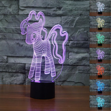 2017 Novelty My Little Pony 3D Night Light 7 Color Change LED Table Ar Lamp Gift