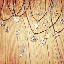 New fashion jewelry antique silver color moon sun mix design pendant necklace (include chain link) gift for women girl N1734