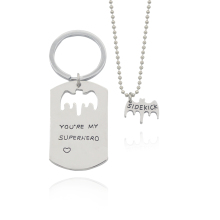 2017 Fashion Bat Heart Pendant Neckalce Keyring Letter You're My Superhero & Dad Sidekick Beads Chain Necklaces Keychain Sets(China)