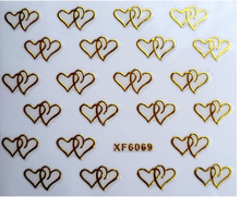 1pc Nail art 3D gold foil sticker short bride patch applique Nail Polish stickers golden double hearts sticker diy nail tool