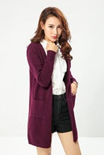 FH - # 40 and 41 European and American wind autumn fashion leisure joker double pocket long knitted cardigan stock