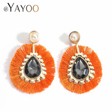 AYAYOO Bohemian Tassel Earrings For Women Wedding Long Drop Earings Fashion  Jewelry Cryatal Round Orange Fringe Earring 0e206f51c412