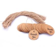 100pcs Thank You Round Kraft Paper Gift Hang Tags Bookmark Wedding Christmas Scallop Label Blank Luggage