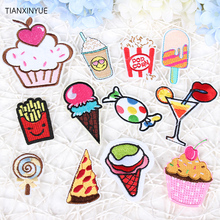 12 kinds/lot Cartoon food patches DIY clothing patch affixed decorative sewing accessories hat clothes Free Shipping(China)