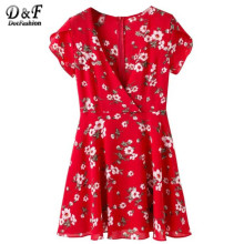 Dotfashion Floral Chiffon Dress Women Red Sexy V Neck Cute A Line Summer Dresses 2017 Fashion Zip Back Short Sleeve Mini Dress