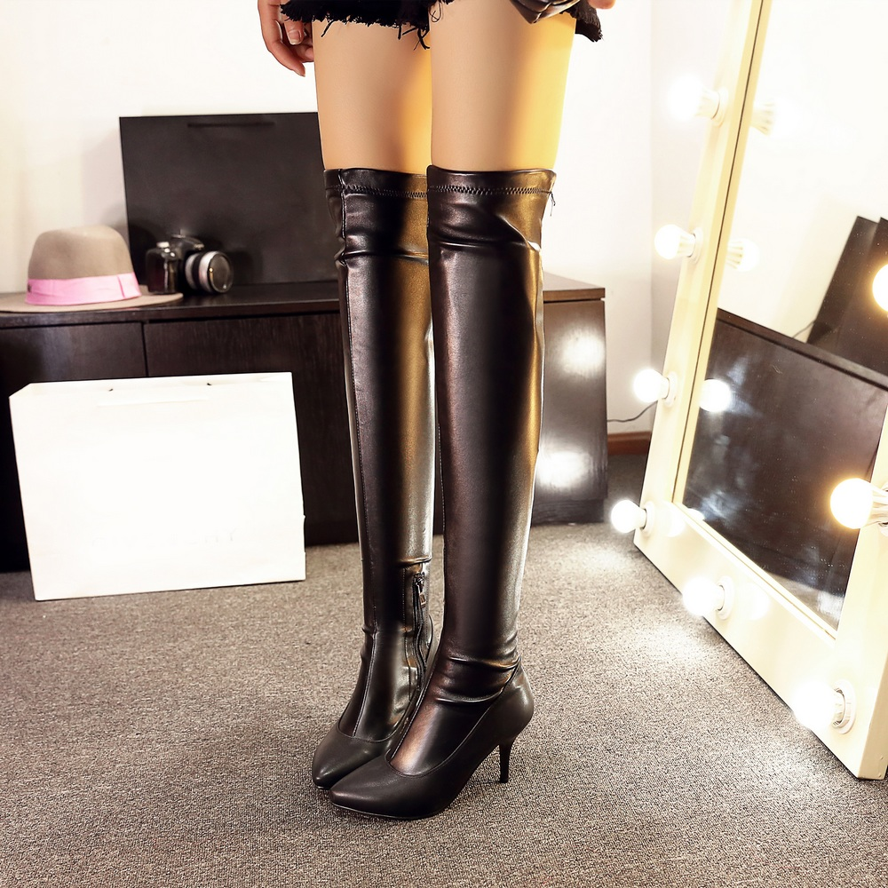 New women over the Knee high Boots sexy thin high heels women Boots elegant poined toe winter boots Shoes woman large size 34-43<br><br>Aliexpress