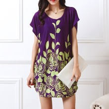 New 2017 Fashion Women short sleeve Dresses Plus Size Dress Loose Novelty Print tunic girl casual tops tunic 4xl 5xl