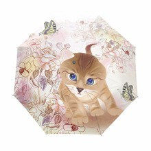 Automatic Anti UV Parapluie 3 Folding Travel Umbrella Rain Sun Sombrinha Windproof 100% Polyester Cartoon Cute Cat Umbrella(China)