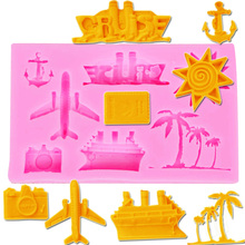 M384 Plane Coconut Tree Molds Silicone Mold Soap Candle Molds Sugar Craft Tools Chocolate Molds Bakeware10*6.3*1.1CM(China)