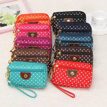 Hot Fashion Women Dots Small Wallet Cute Canvas Key Phone Holder Zip Coin Purse Multifunctional Small Storage Bag(China)