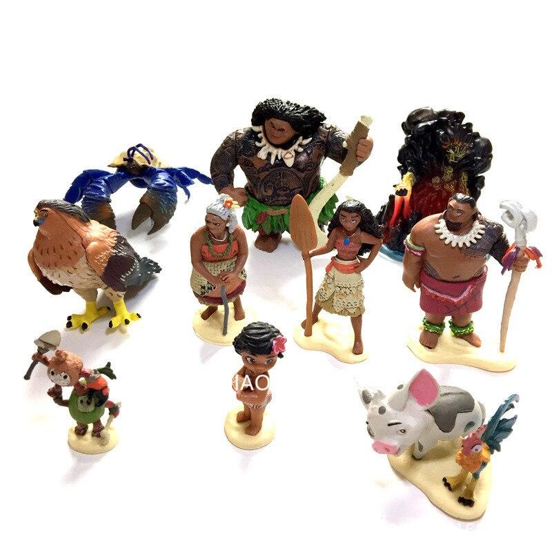 10pcs/set  Sea Colors Moire na Moana Princess Demigod Hairy Crab PVC Action Figure Collectible Model Toys OPP Bag D2<br>