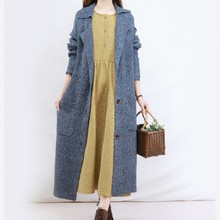 New Arrive Female Casual Suit Sweater Trench Spring And Autumn Long Coat Cotton And Linen Long Sleeve Casual Dress(China)