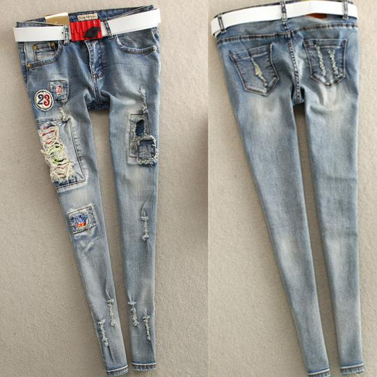 2017 spring and summer new European Slim badge hole jeans  feet pencil tassel womens jeansОдежда и ак�е��уары<br><br><br>Aliexpress
