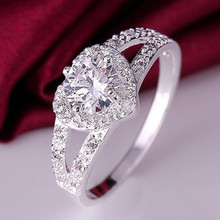 1pc Elegant Ring For Women Engagement Wedding Female Crystal Heart Shaped Love Silver Plated Rings Jewelry Luxury Design Size6-9