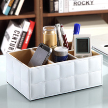 New Arrival Good Quality Luxury PU Leather Storage Box Remote Control Phone Holder Home Organizer Storage Boxes Black & White(China)