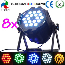 8pcs/lot 5in1 led par can light 18x12w led par 64 dmx stage lighting(China)