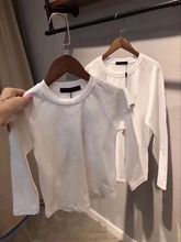 Top quality boys girls plain white t-shirt for kids and parents clothing children t-shirts long sleeve cotton shirt for Adult(China)