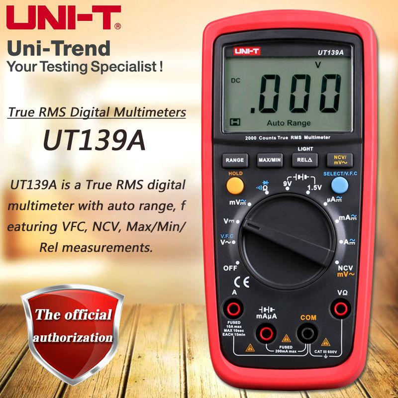 UNI-T UT139A True RMS Digital Multimeter / AC Variable Frequency VFD Measurement / Battery Test / NCV / Auto Power Off<br>