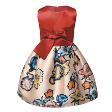 Fashion Baby Girl Floral Print Dress Kids Party Prom Designer Children Clothing Toddler Girls Kids School Clothes Size 3-8 Years