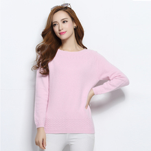 100% Pure Cashmere Women's Sweater New Fashion Slash neck Thick Warm Pullovers Hot Sale Regular Sleeve Clothes Solid Tops