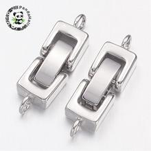 Brass Watch Band Clasps, Fold over Clasps, 1-Hole, Cadmium Free & Nickel Free & Lead Free , Platinum, 24x7x4mm, Hole: 1mm(China)