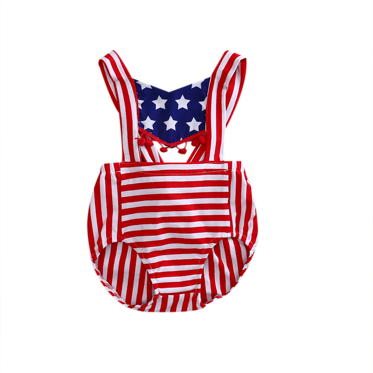 Summer Newborn Toddler Infant Baby Girl Romper Jumpsuit Striped Star Flag Outfit Sunsuit Clothes  -  Babywow Store store