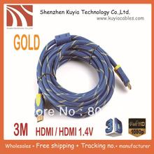 KUYiA Free shipping+High quality 3M 10ft 1.4V hdmi cable with nylon mesh&dual ferrite cores supports hdmi ethernet,3D&blue ray(China)