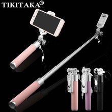 Mini Portable Monopod Selfie Stick For Iphone 6 6 Plus 5s SE Samsung Huawei Android Audio Cable Wired Palo Self Sticks Self-Pole