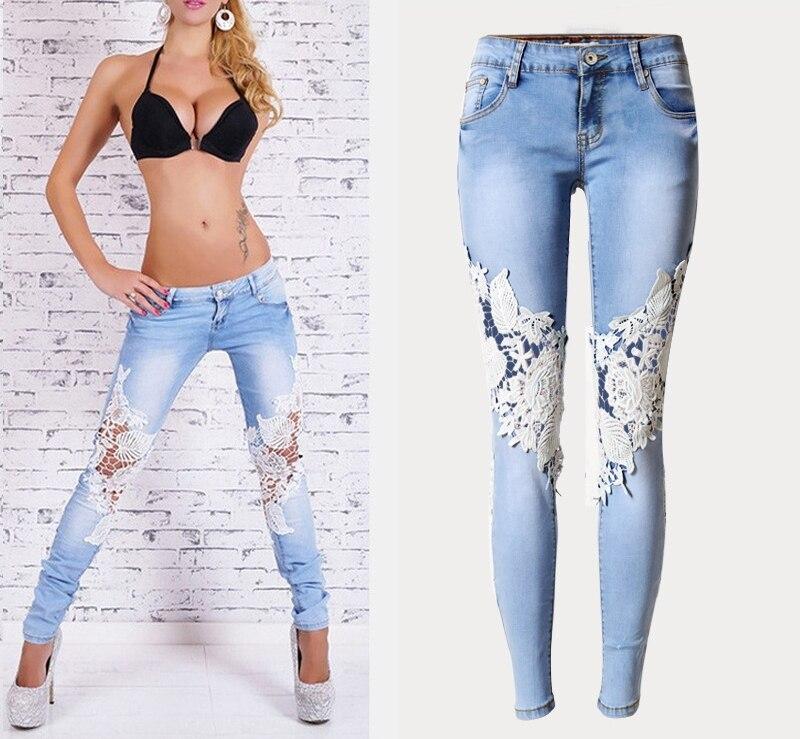 2016 Summer Russia Casual Women Lace Denim Jeans  Sexy Patchwork Low Waist Long Fashion Unique Ladies Pencil Jeans for womanÎäåæäà è àêñåññóàðû<br><br>
