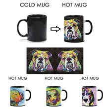 Cute Mugs Colorful Beagle Heat Activated Coffee Mugs Pet Dog Color Changing Funny Mug Animal Ceramics Mug Custom Milk Magic Cup