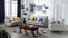 Contemporary Modern Storage Linen Fabric Sofa Grey living room sofa set 1+2+3 made in China(China)