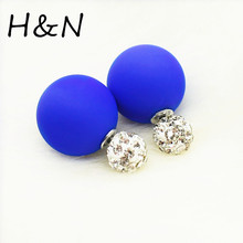 2017 new Crystal two ball Earring Hiphop Double side Stud Earring Shamballa Korea rhinestone brinco lovely d'oreille Jewelry