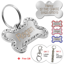 Personalized Dog Tags Custom Engraved Pet ID Tag Stainless Steel Bling Bone Shape With Free Gift(China)