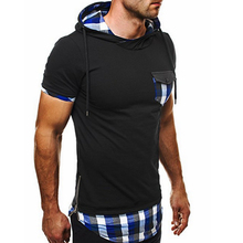 2017 Stitching Pocket Shirts Fit Slim Causal Mens Shirts Mens Hooded Short Sleeves Decorate Zippers Grid Tops