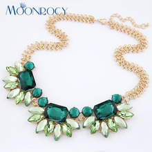 MOONROCY Free Shipping Fashion Crystal Necklace Austrian Crystal Jewelry for women Party Hyperbole blue green Necklace Choker(China)