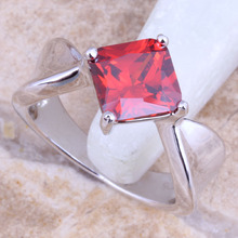 Magnificent Red Garnet Silver Stamped 925 Grade Ring Size 6 / 7 / 8 / 9 / 10 R1523(China)