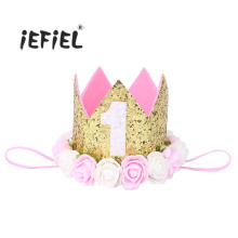 9 Style Baby Kids Children's Birthday Party Glittery Crown Artificial Rose Flowers Tiara Headband for Special Occasions Headwear(China)
