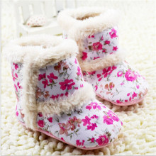 2015 Fashion Winter Warm Flowers Baby Shoes Cotton Padded Baby Snow Boots Infant Toddler Girl's Bebe First Walkers Shoes(China)