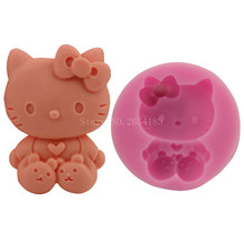 Cartoon Hello Kitty Cat Silicone Fondant Soap 3D Cake Mold Cupcake Jelly Candy Chocolate Decoration Baking Tool Moulds FQ2844(China)
